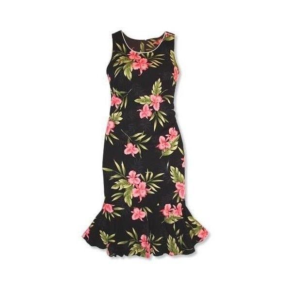 be25a54acf201 Midnight Black Hana Aloha Hawaiian Dress ❤ liked on Polyvore featuring  dresses, hawaiian dress, sexy hawaiian dress, hawaiian print dresses and  sexy ...