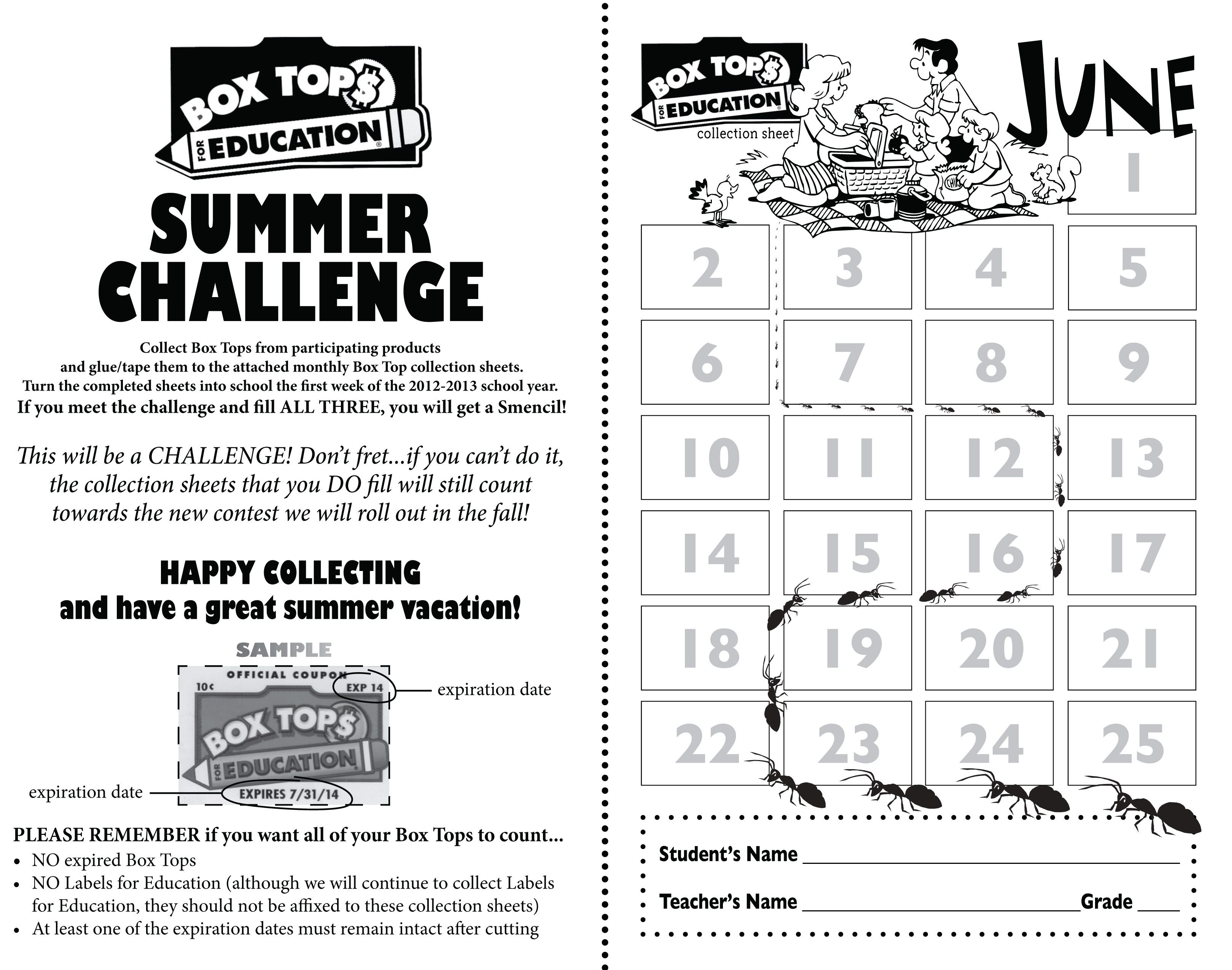 Great Summer Collection Sheet Box Tops For Education