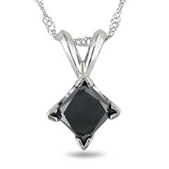 Zales 1/4 CT. Enhanced Black Diamond Bezel Set Solitaire Pendant in 14K White Gold fZauleXl