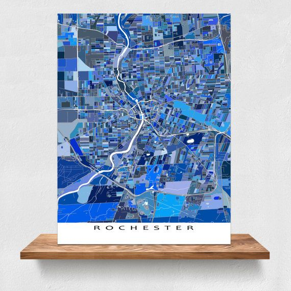 Rochester NY Map Rochester Map Art Prints New York by MapsAsArt