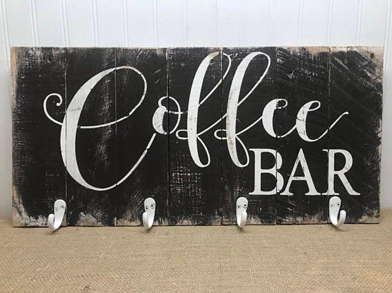 Coffee Bar Mug Rack Rustic Kitchen Decor Mug Rack with | Etsy