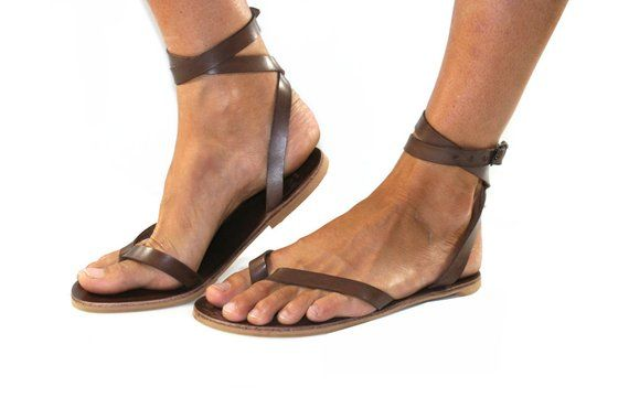 c751b892e Brown Swell Leather Sandals for Women   Men - Handmade Leather Sandals