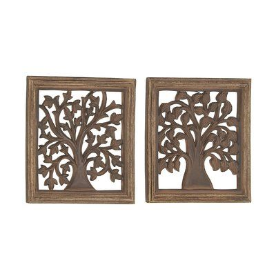 Cole Grey 2 Piece Traditional Square Carved Tree Wall Decor Set