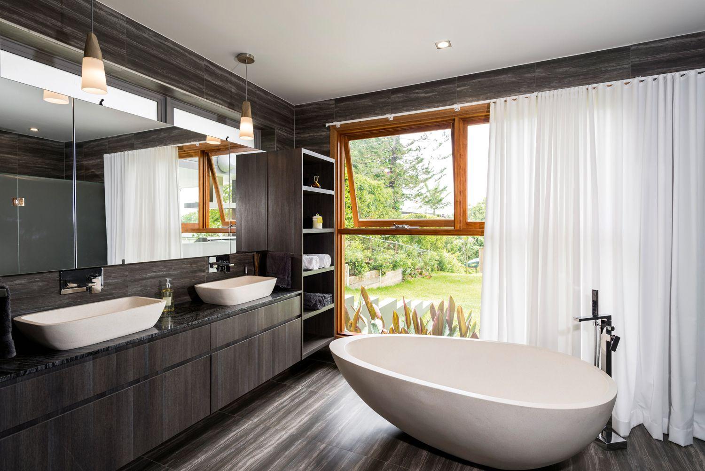 Ultra Modern Bathroom Vanity Polytec Doors In Char Oak Ravine