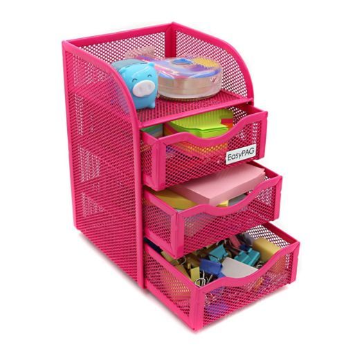 Por Design Metal Desk Organizer With 3 Drawer Make The Most Of Your E This Wire Mesh Construction Will Keep Neatly