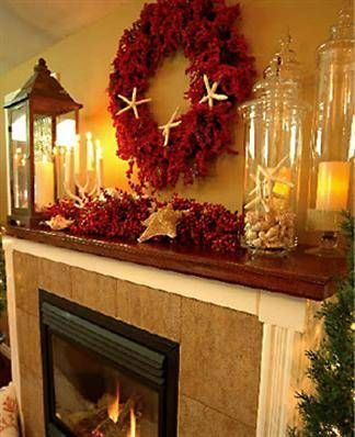 Decorating a Mantel With a Mirror Behind Beach christmas, Beach - christmas decorations for mantels