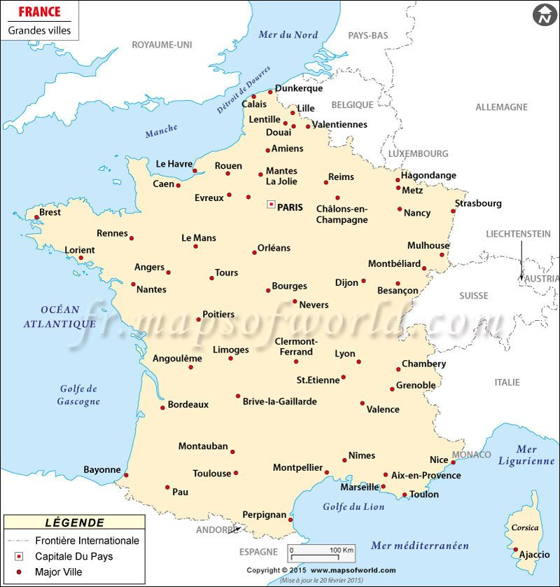 Map showing major cities in France Paris Major City Maps
