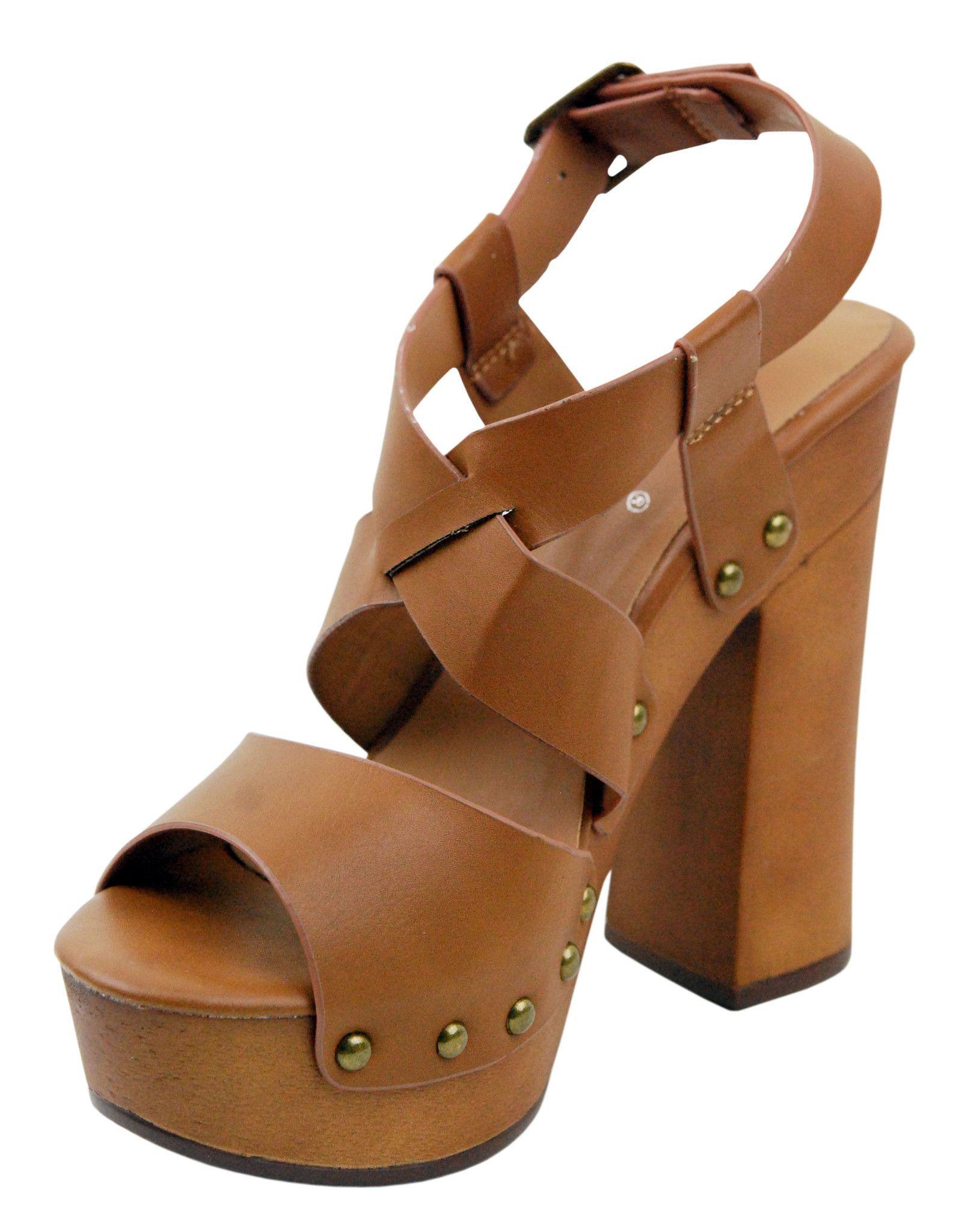 Womens Wedge Platform Chunky Wood High Heel Sandals Retro Gladiator Pr
