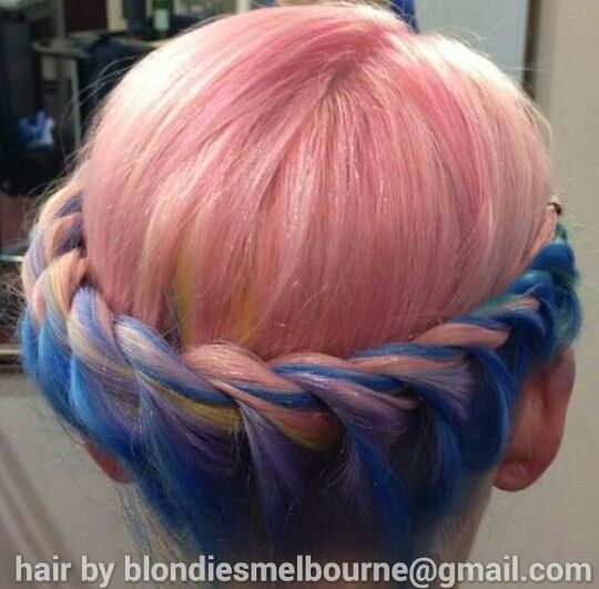 Pastel pink and blue dyed crown braid hair color