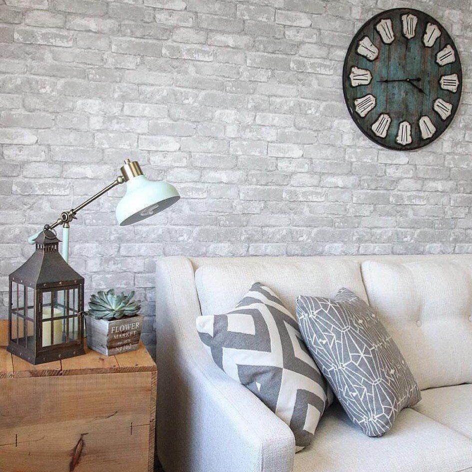 Wallpops Gray Brick Peel And Stick Wallpaper Peel And Stick Wallpaper Home Wallpaper Brick Accent Walls