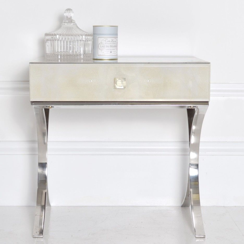 Best Bedroom Contemporary Bed Side Table With Chromed Metal 400 x 300