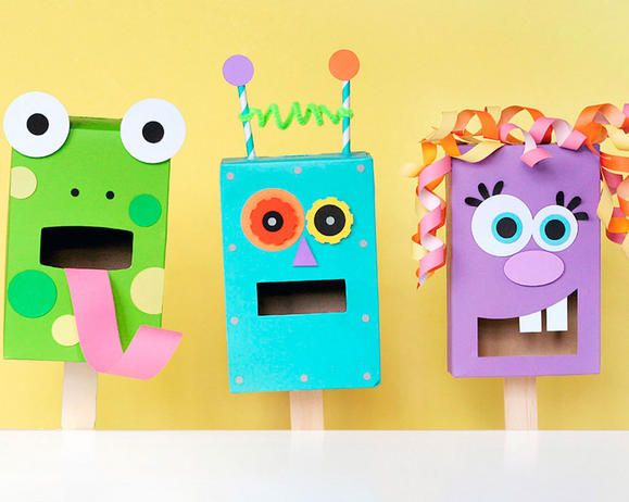 Recycled Pasta Box Puppets Educational Fiskars Arts And Crafts For Kids Creative Activities For Kids Fun Arts And Crafts
