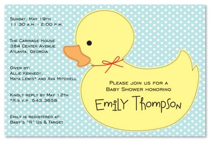 Rubber Duck invite lindseymeeker yummy Pinterest Rubber duck