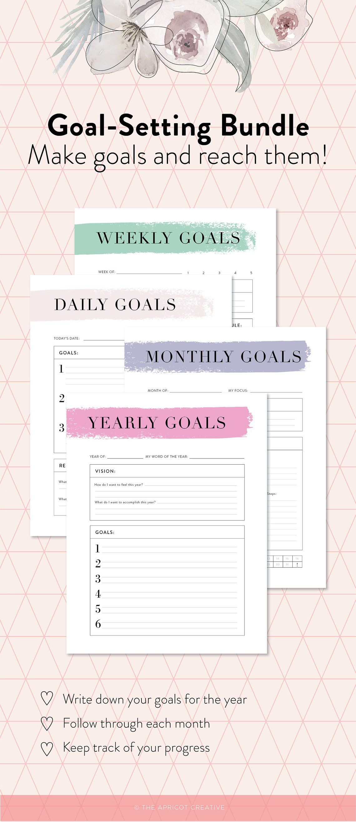 Goal Setting Bundle Yearly Monthly Weekly Daily Goal