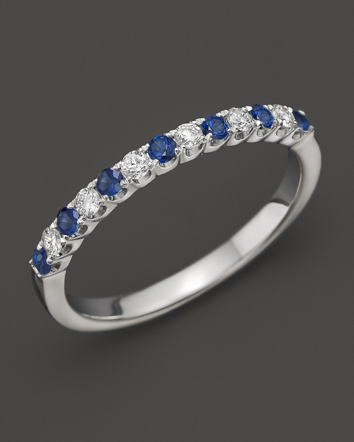 43a4b7092277 Diamond and Sapphire Band in 14K White Gold