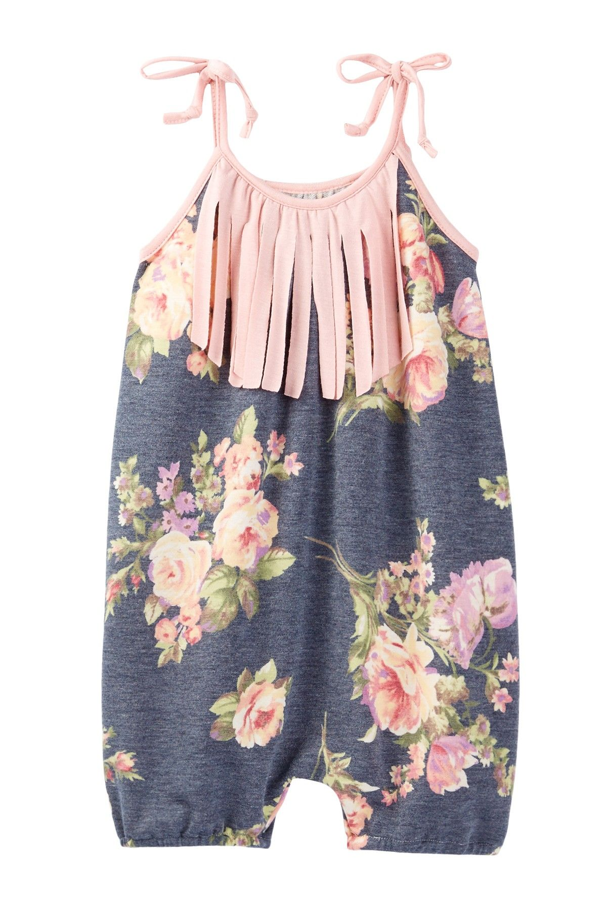 Charcoal Floral Bubble Romper Baby & Toddler Girls