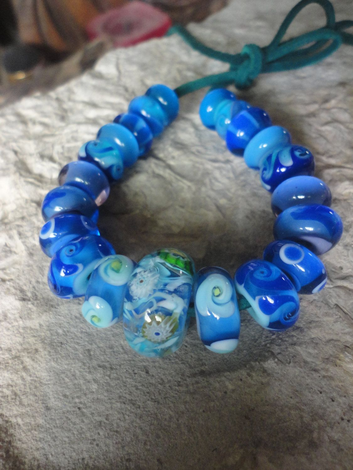 Lampwork Beads Blue Jeans 21 beads by GlassKandy on Etsy, $60.00