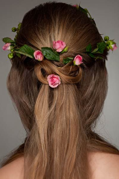 This Gorgeous Half Up Half Down Hairstyles Offers Surprise And Delight From The Back Half Up Hair Is Woven Into A Celtic Knot St Wedding Hair Down Hair Knot Wedding Hair