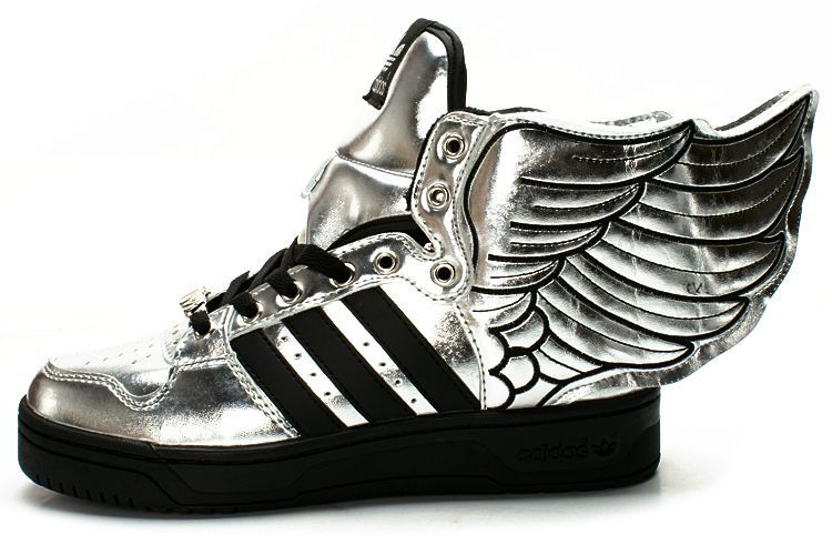 quality design 2aa6b e2730 Jeremy Scott Adidas Originals JS Wings 2.0 Fashion Silver Black Shoes