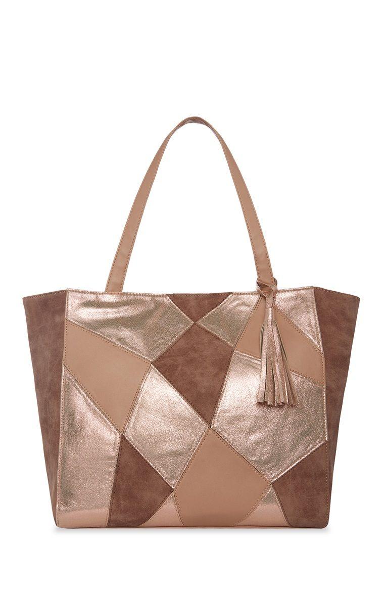 Primark Beige Shopper Patchwork Shopper Bag Bags Tan