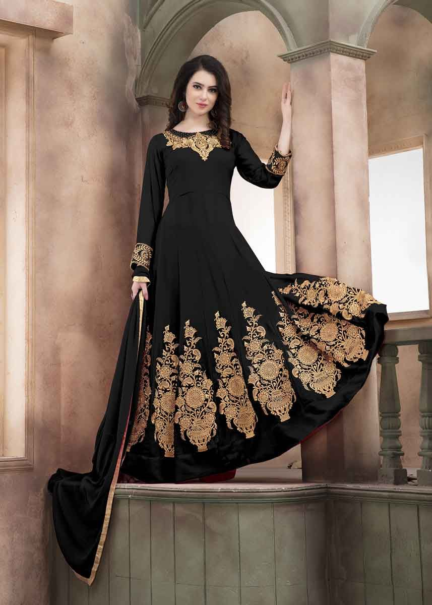 86cc989e2d Be the center of attraction with this demanding royal black color faux  georgette embroidered designer party wear salwar kameez. This floor length  anarkali ...