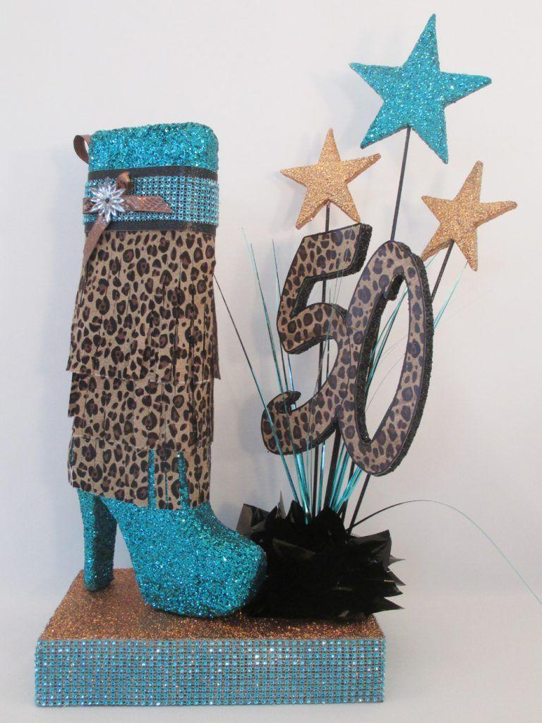High heel tall boot leopard centerpiece birthday