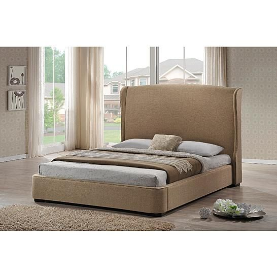 Best Baxton Studio Sheila Tan Linen Modern Bed With Upholstered 400 x 300