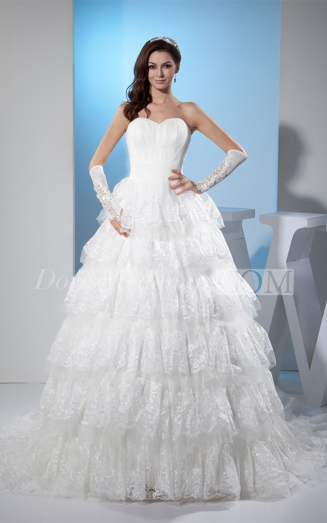 Strapless Sweetheart A Line Bodice Gown With Lace Layered