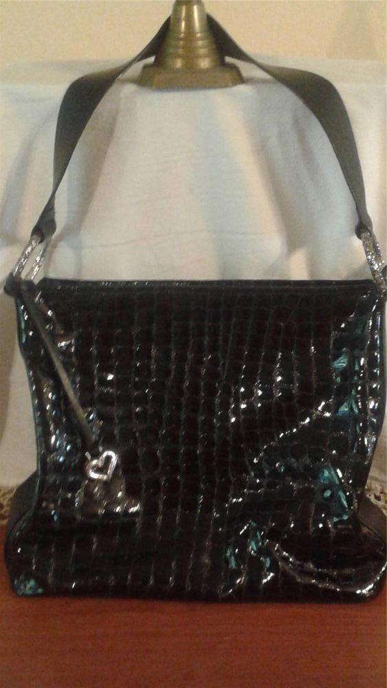 Brighton Cher Patent Leather Croc Handbag Shoulder Bag Shoulderbag
