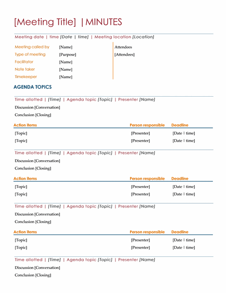 Meeting Minutes  Templates  General Info    Template