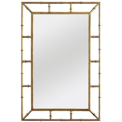 Zhu Mirror Pier 1 Color Gold Iron Mirror Engineered Wood Paint 24 W X 1 D X 36 H Gold