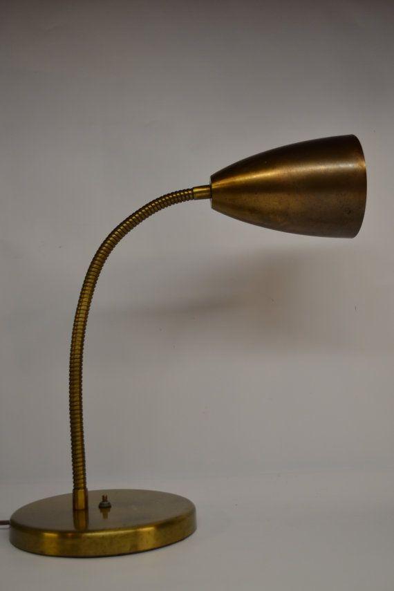Vintage Mid Century Modern Brass Desk Lamp Gooseneck Adjustable Lighting Retro Decor Modern Brass Desk Lamp Vintage Industrial Lighting Adjustable Lighting