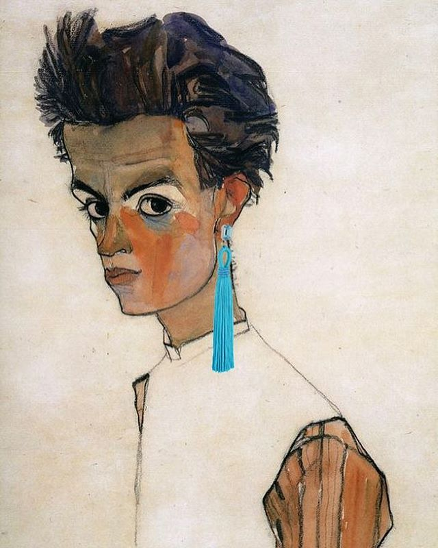 Original: Egon Schiele's 1910 Self-Portrait. Added: Oscar de la Renta earring