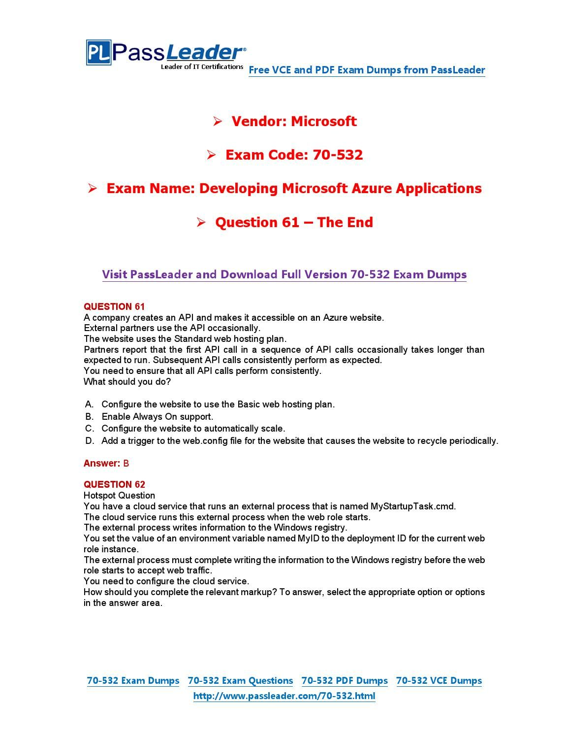 70 532 Exam Dumps With Pdf And Vce Download 61 End 70 532 Exam