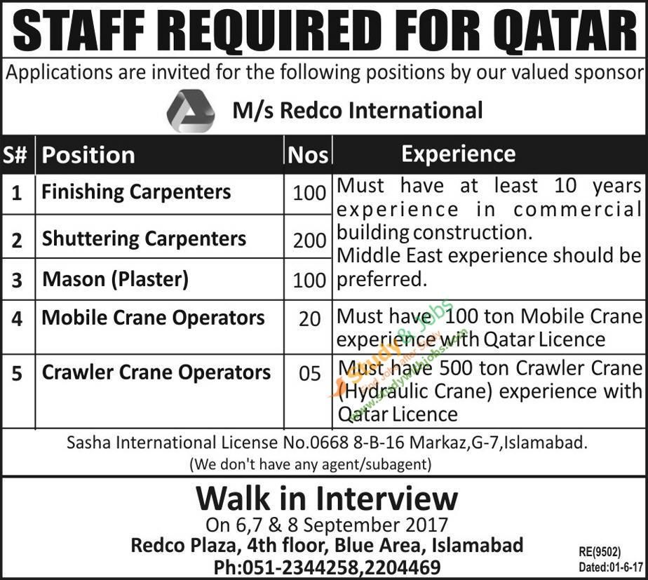 Staff Required for Qatar 6th September 2017 | Jobs In Pakistan