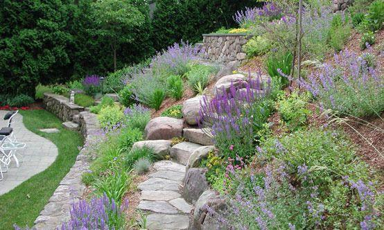 On A Slope Sloped Garden Landscaping With Rocks Landscaping A Slope