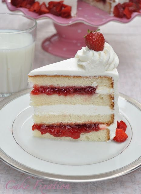 Strawberry Cake With Strawberry Preserves Filling