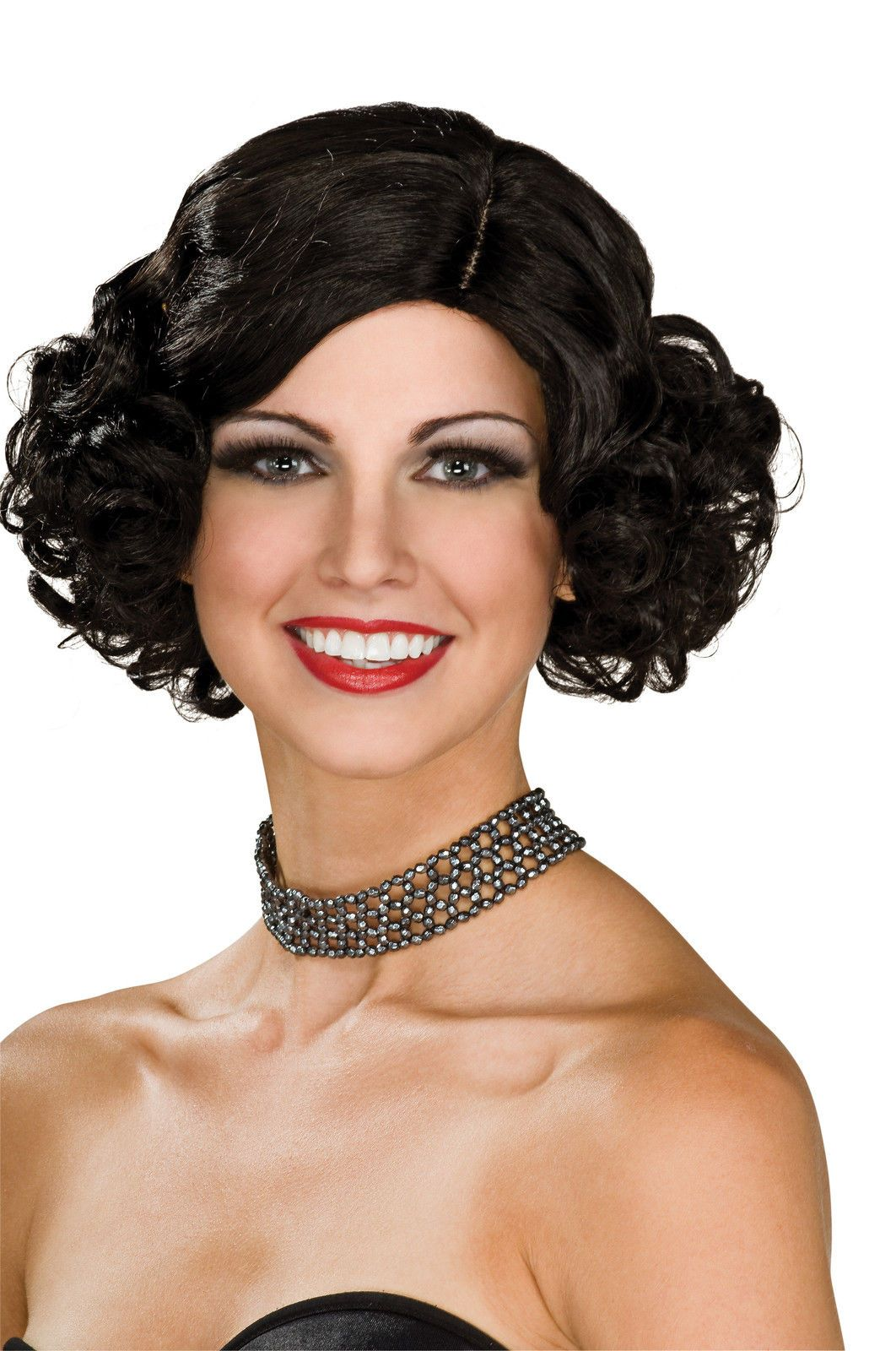 Details about Womens Short Curly Black Wig Flapper 20s