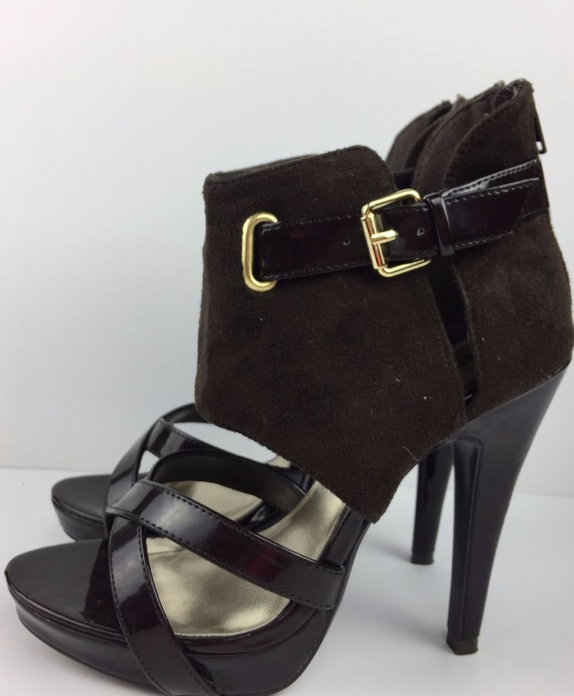 New Women Brown High Heel Strappy Platform Pumps Ankle Booties sz 7 M  #Paprika #Stilettos #Dress