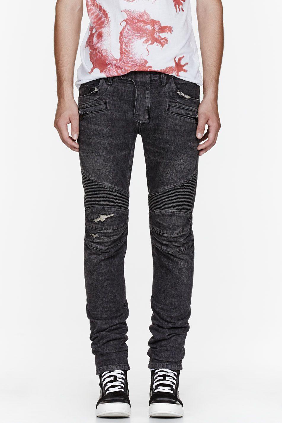 97d073492ab BALMAIN Washed black distressed & ribbed biker jeans | Denim | Biker ...