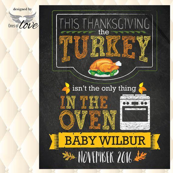 Thanksgiving Pregnancy Announcement Chalkboard Printable File