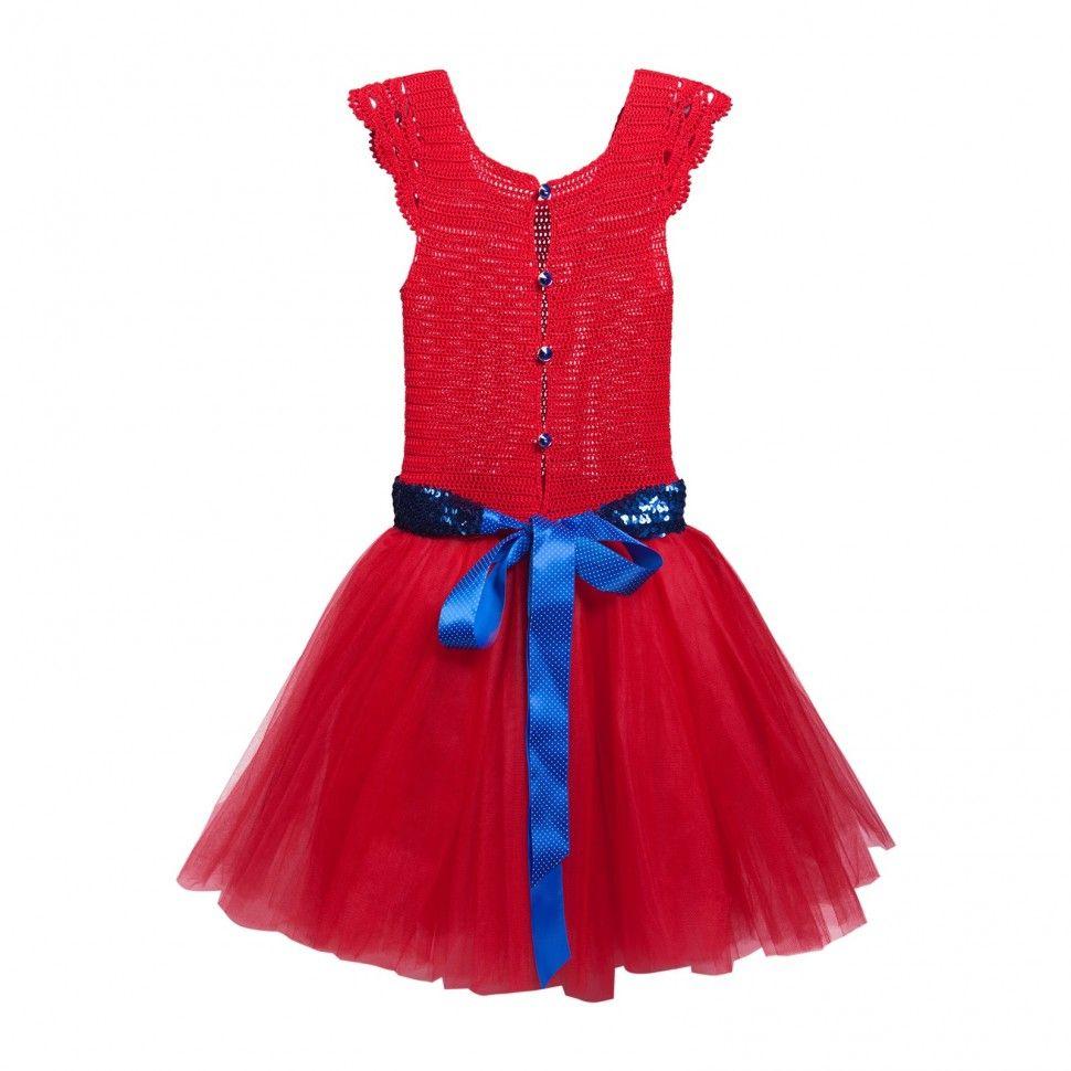 Красное платье, вязаный верх + синий пояс + аксессуары–L'erede.Ru