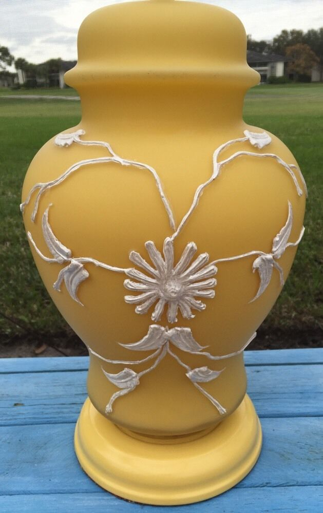 Vintage Yellow Gl Ginger Jar Lamp Light Raised Flower Refurbished Ebay