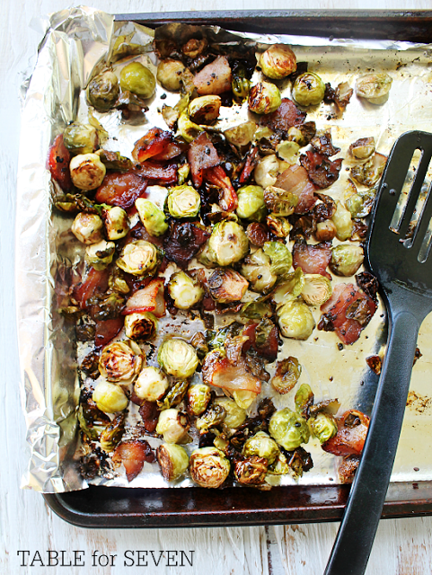 Roasted Brussels Sprouts with Bacon | What an easy vegetable recipe! Even people who don't like Brussels sprouts won't be able to resist this side dish.