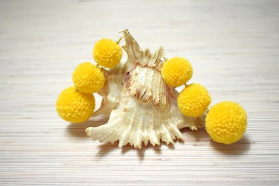 0cbdef6f60 Pom Pom Earrings Yellow And Gold Pompom Earrings Bon Bon Earrings Large Pom  Pom Earrings Statement E