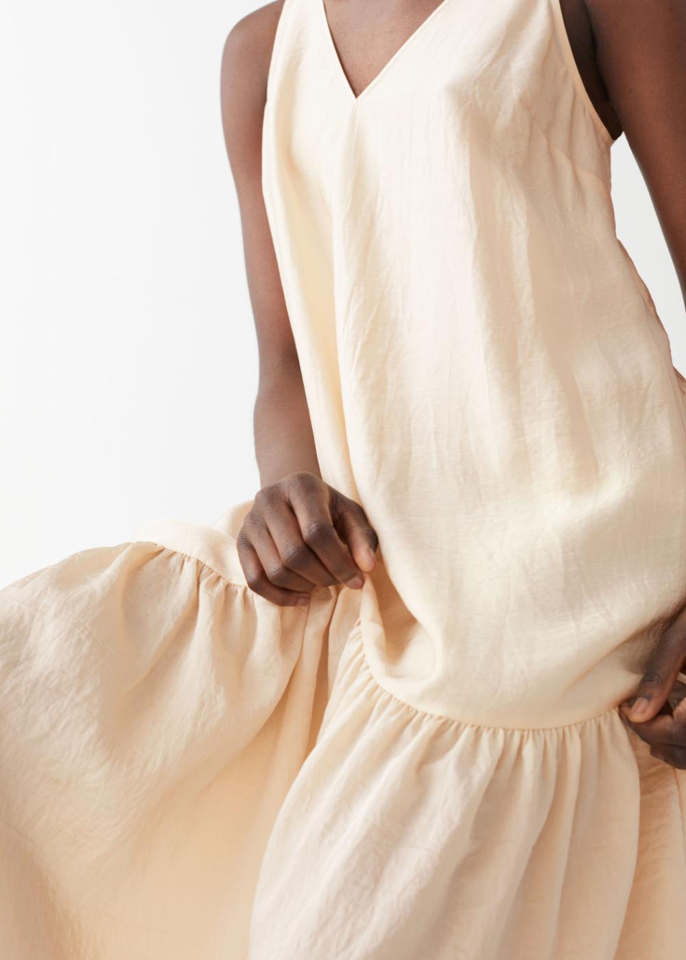 voluminous v-neck midi dress in 2020   v neck midi dress