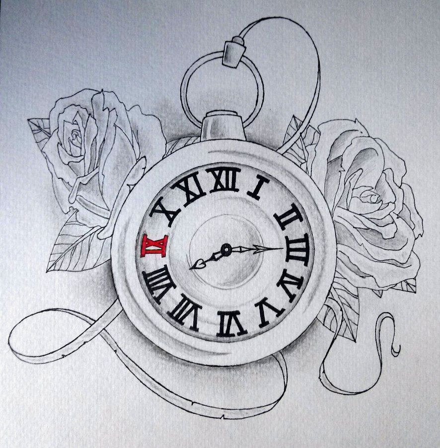 Sketch Clock Tattoo Drawing
