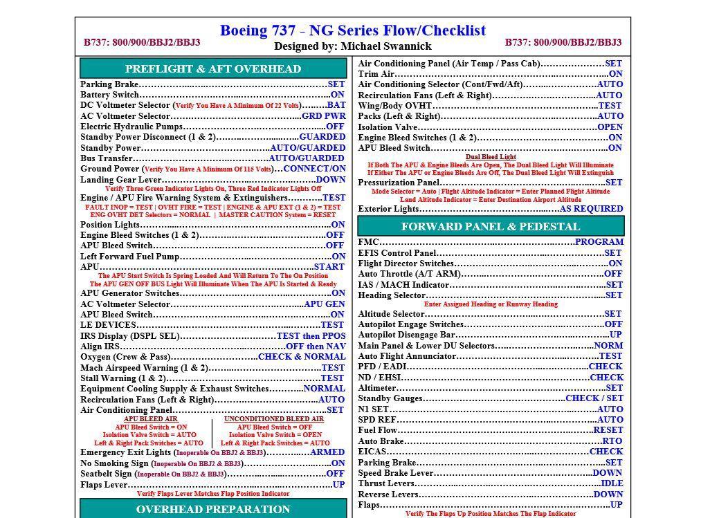 Boeing 737-NG Series Flow/Checklist  pdf | Aviation