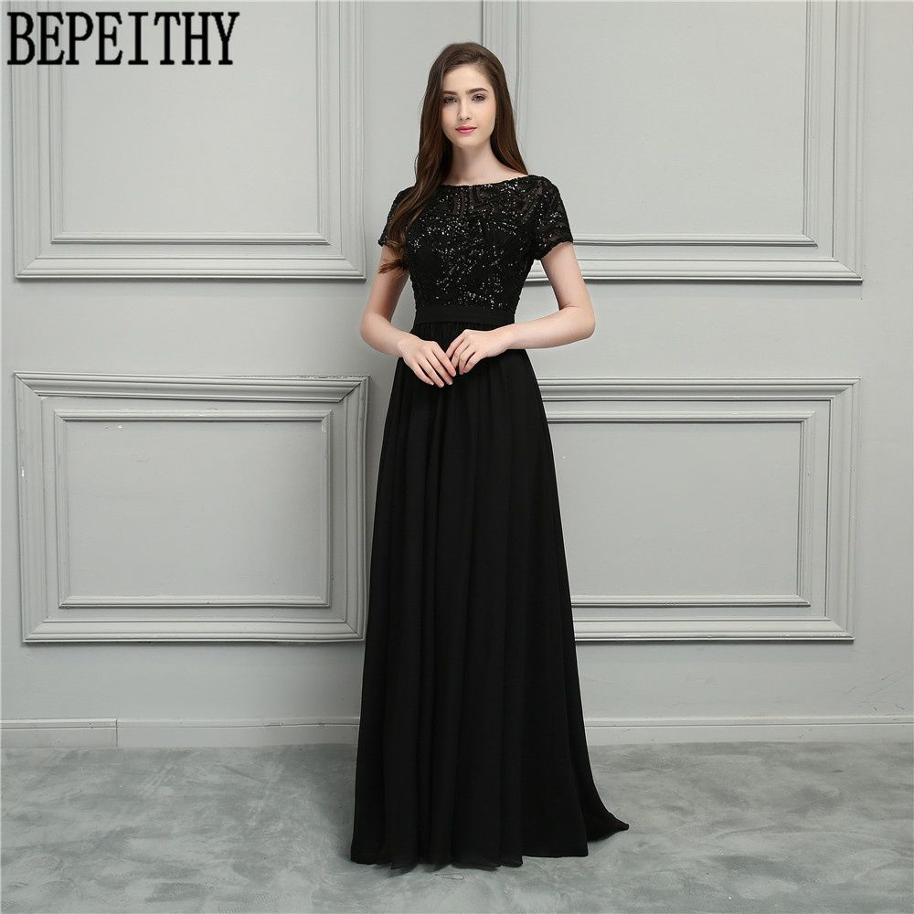 2af71c4d5648 BEPEITHY Vestido De Festa Longo Scoop Short Sleeve Black Sequins Chiffon  Long Mother Of Bride Dresses Prom Dress 2018