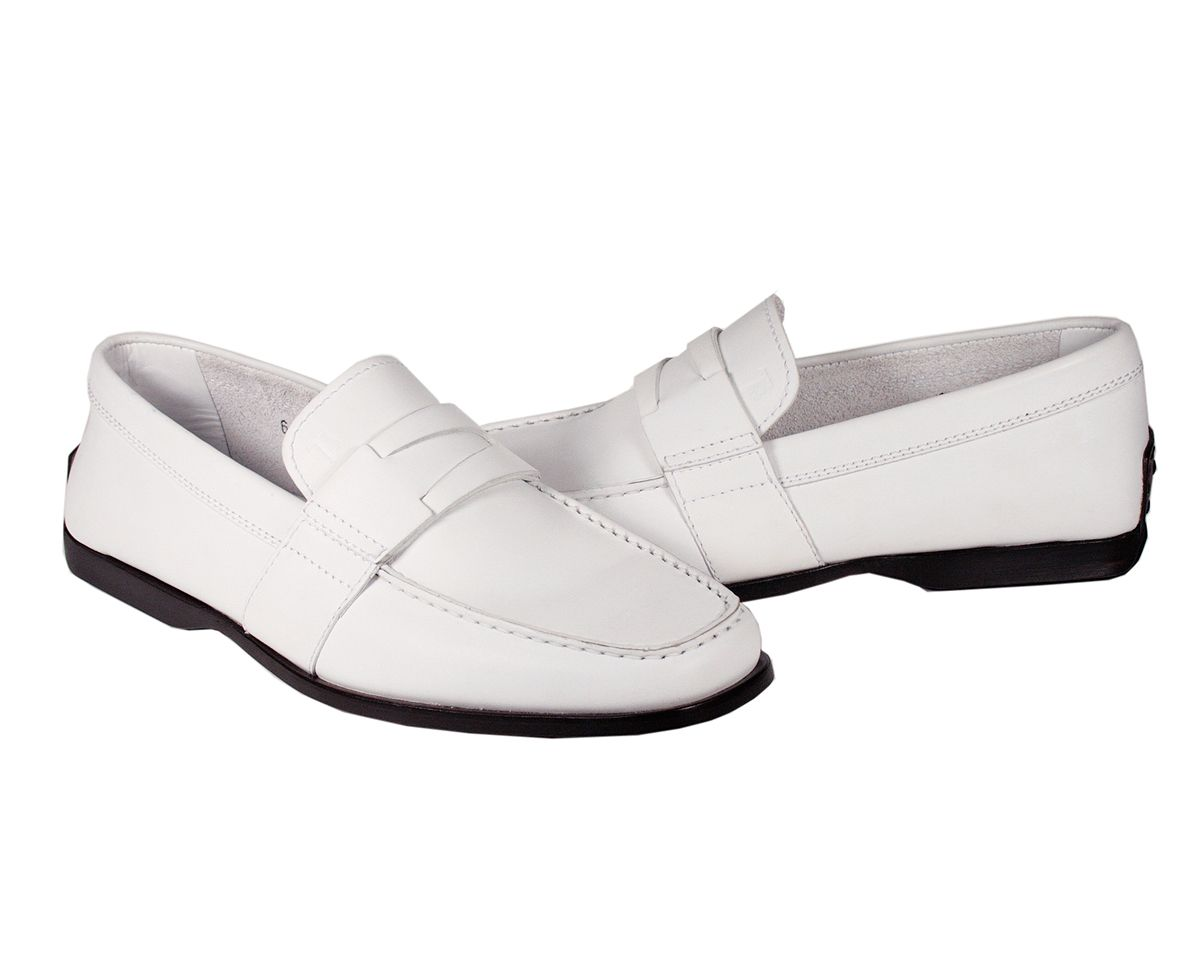 Tods Mens Shoes Italian Mocassimo Greca Nuovo Driver White Leather ...